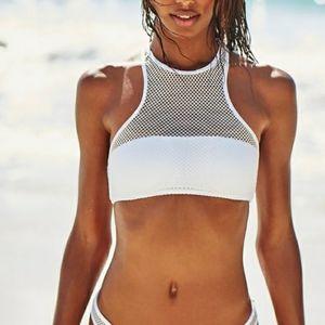 Victoria's Secret High-Neck Mesh Swim Top